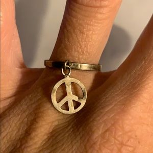 Sterling silver stamped peace ring